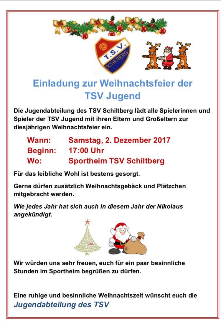 Einladung Zur Weihnachtsfeier.Einladung Zur Weihnachtsfeier Der Tsv Jugend